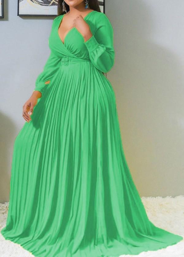 Vestido largo plisado con cuello en V de manga larga verde formal de otoño sin cinturón