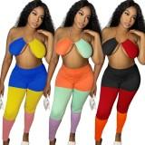 Conjunto de sujetador y leggings con bloques de color sexy para fiesta de verano