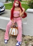 Summer Sports Conjunto de sujetador bandeau con cuentas rosas y pantalón de chándal a juego