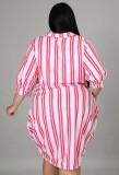Vestido de blusa de rayas casuales de verano más tamaño