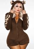 Mamelucos con capucha y cremallera frontal de lana marrón otoño
