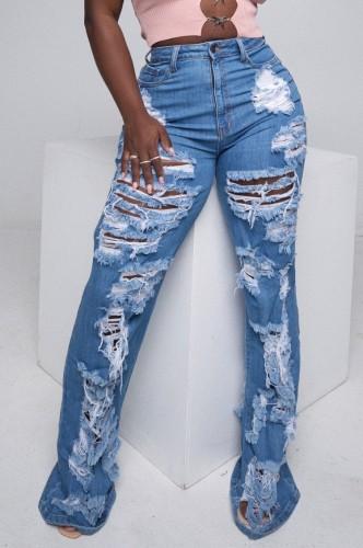 Pantalones vaqueros de cintura alta dañados rasgados azules casuales de verano