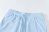 Summer Sports Conjunto de sujetador bandeau con cuentas azules y pantalón de chándal a juego