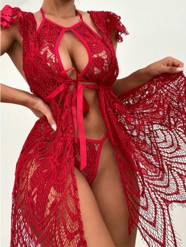 Ensemble de lingerie 3 pièces en dentelle rouge d'été