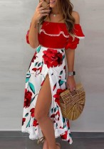 Verano elegante floral fuera del hombro vestido largo con abertura