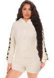 Mamelucos con capucha y cremallera frontal de lana beige otoñal