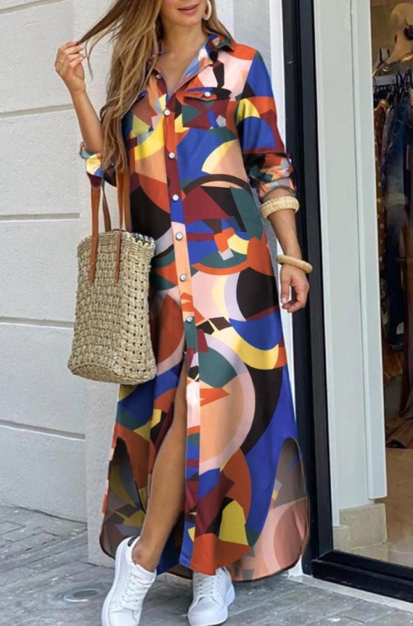 Vestido de blusa larga con abertura de manga larga multicolor con estampado casual de otoño