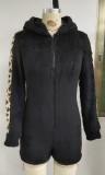 Mamelucos con capucha y cremallera frontal de lana negra de otoño
