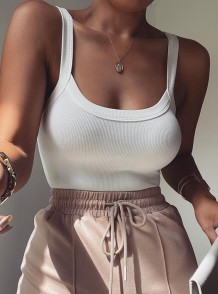 Summer White Ribbed Basic Strap Bodysuit