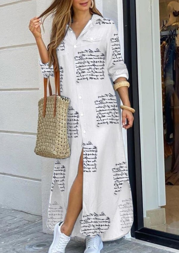 Vestido de blusa larga con abertura de manga larga blanca con estampado informal de otoño