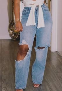Pantalones vaqueros de cintura alta dañados con corte azul casual de verano