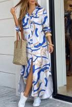 Otoño Casual Cadenas Estampado de manga larga con abertura Vestido largo de blusa
