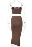 Conjunto de falda lápiz y top corto sin tirantes marrones de fiesta de verano