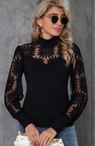 Blusa formal elegante floral negra otoñal