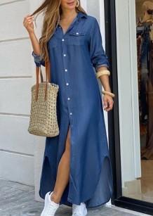 Sonbahar Günlük Mavi Uzun Kol Yırtmaçlı Uzun Bluz Elbise