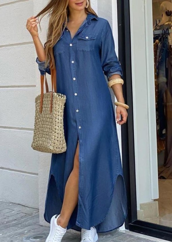 Vestido de blusa larga con abertura de manga larga azul casual de otoño