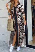 Vestido de blusa larga con abertura de manga larga con estampado de leopardo casual de otoño