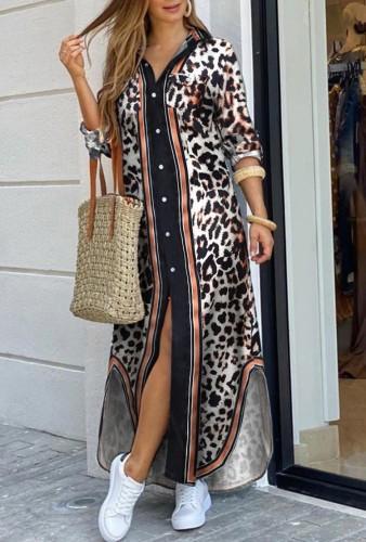 Robe chemisier longue fendue à manches longues et imprimé léopard d'automne