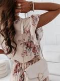 Vestido skater plisado floral con cuello en V elegante de verano