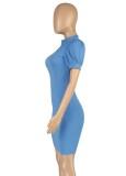 Vestido ajustado de manga corta azul casual de verano