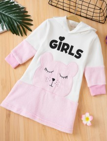 Детское осеннее платье с капюшоном с цветными блоками для девочек