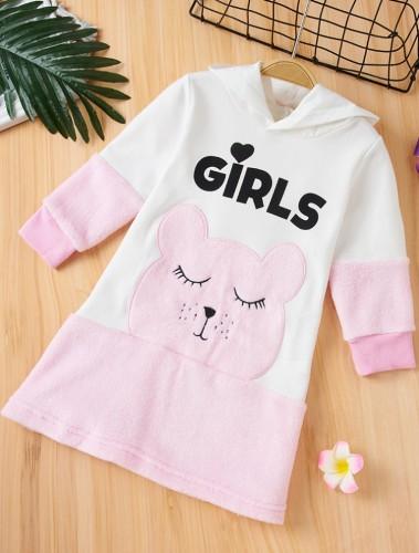 Kids Girl Color Block Cartoon Autumn Hoody Dress