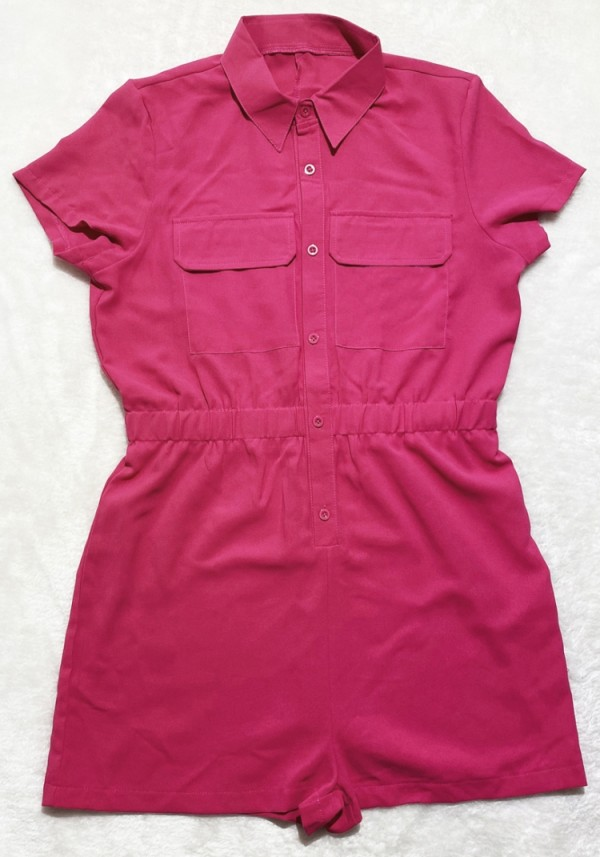 Mamelucos de carga de manga corta rosa casual de verano