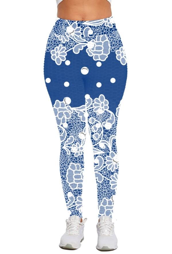 Pantalones de cintura alta ajustados florales con estampado de verano