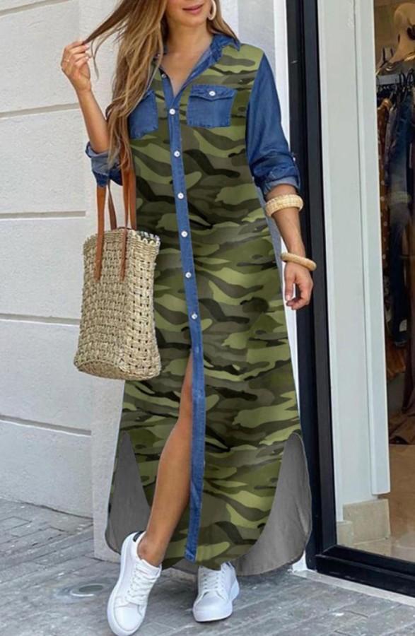 Vestido de blusa larga con abertura de manga larga con estampado informal de otoño Camou