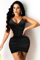 Fiesta de verano Vestido ajustado con pliegues sexy y recortado en negro