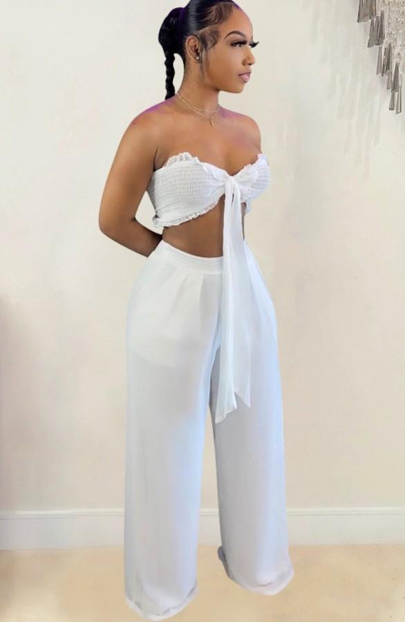 Conjunto de pantalón ancho y top bandeau anudado blanco de fiesta de verano