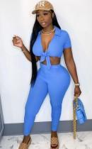 Conjunto de pantalón y top corto anudado azul sexy de fiesta de verano