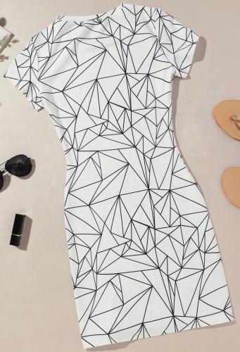 Mini vestido ajustado de manga corta blanca con estampado de verano