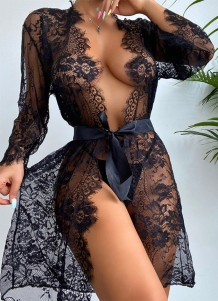 Conjunto de lencería sexy de 2 piezas de encaje negro de verano