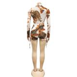 Mamelucos casuales de manga larga retro con estampado de otoño