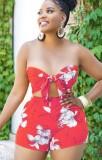 Summer Red Floral Bandeau Top y Shorts Conjunto de 2 piezas