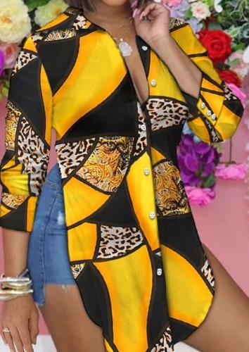 Blusa larga con abertura lateral con estampado casual de otoño
