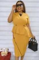 Vestido amarelo verão oficial peplum midi
