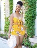 Summer Yellow Floral Bandeau Top y Shorts 2 piezas Set