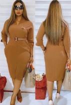 Vestido oficial de outono midi liso maciço com cinto combinando