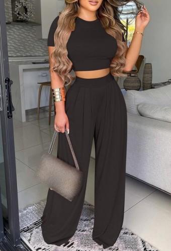 Conjunto de pantalones sueltos de cintura alta y top corto negro formal de verano