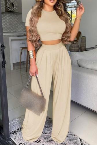 Conjunto de pantalones sueltos de cintura alta y top corto de color caqui formal de verano
