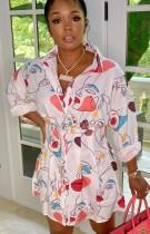 Vestido Blusa Outono Casual Estampado Manga Longa