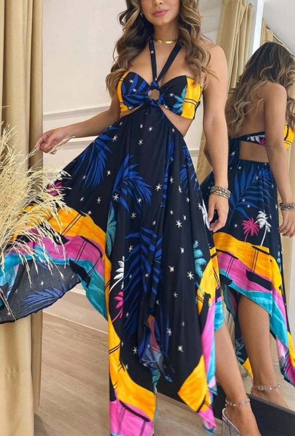 Summer Classy Print Halter Vestido largo irregular irregular