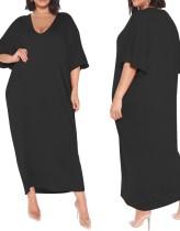 Vestido de camisa longa preto com decote em V verão plus size