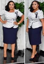 Vestido de estampa mamãe da noiva com estampa superior de verão tamanho médio peplum