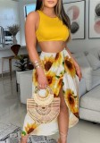 Summer Party Print Crop Top and Irregular Long Skirt Sundress Set