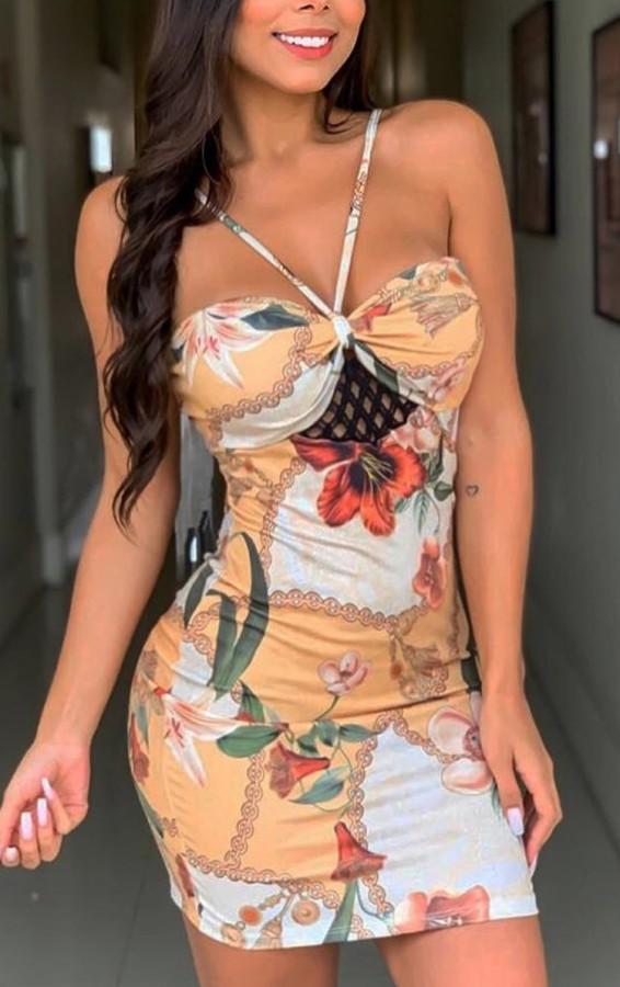 Mini vestido veraniego con cuello halter floral elegante