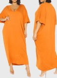 Vestido camisero naranja con cuello en V y talla grande de verano
