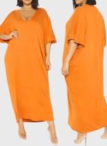 Vestido camisa longa laranja com decote em V verão plus size